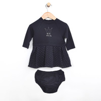 Dress for baby, infant and toddler girls.  Navy blue quilted dress with diaper cover.