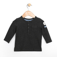 Shirts for baby, infant and toddler boys and girls in black specked yarn.  Henley top.