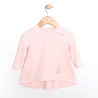 Baby girl long sleeve shirt for girls in pink cotton.