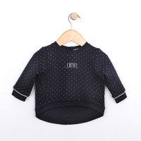 Girls top in navy quilted cotton.  Shirt for baby, infant and toddler girls.