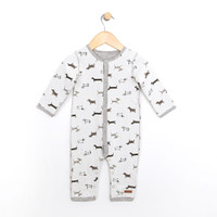 Baby Coverall , Onsie  or one piece.  Reversible.  Cotton.  Dog  pattern on one side.  Grey heather on the other.