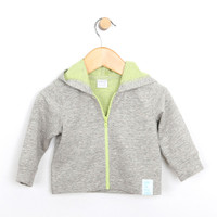 Jacket for baby boys and girls.  Heather cotton modal.  With lime green zipper and lining.