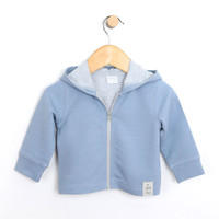 French Terry Knit Jacket, Blue