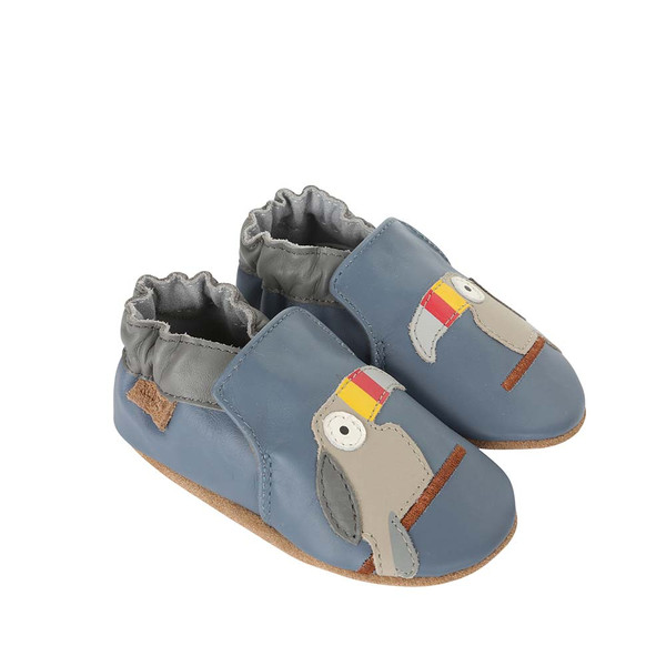Side view of Toucan Tom Baby Shoes a blue soft sole baby shoe featuring toucans
