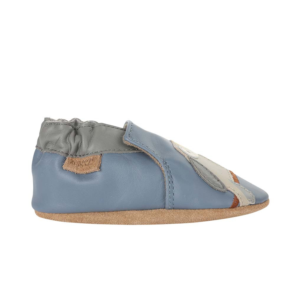 Single Side view of Toucan Tom Baby Shoes a blue soft sole baby shoe featuring toucans