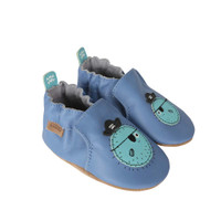 Side view of Blowfish Bob Baby Shoes, a blue leather soft soled crib shoe featuring a pirate blowfish.