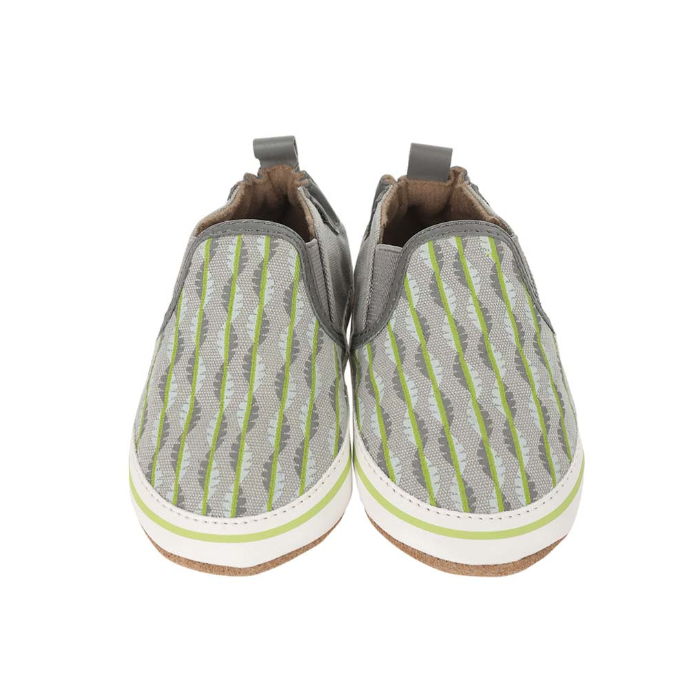 Front view of Liam Tropical Baby shoes, a soft soled crib shoe in grey canvas with a tropical print.