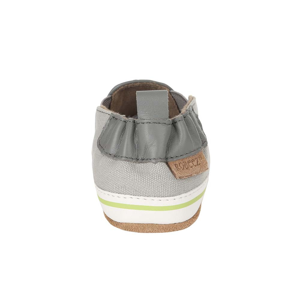 Back view of Liam Tropical Baby shoes, a soft soled crib shoe in grey canvas with a tropical print.