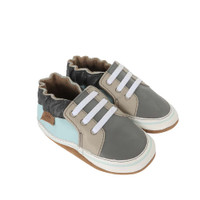 Side view of Trendy Chris Baby Shoes,  a crib shoe designed to look like an athletic shoe.  This baby shoe is in grey, taupe and sky blue leather.