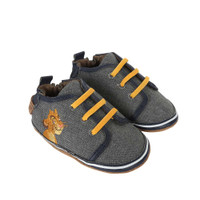Side view of Disney Hakuna Matata Baby Shoes, a grey canvas crib shoe featuring Simba from Disney's Lion King.