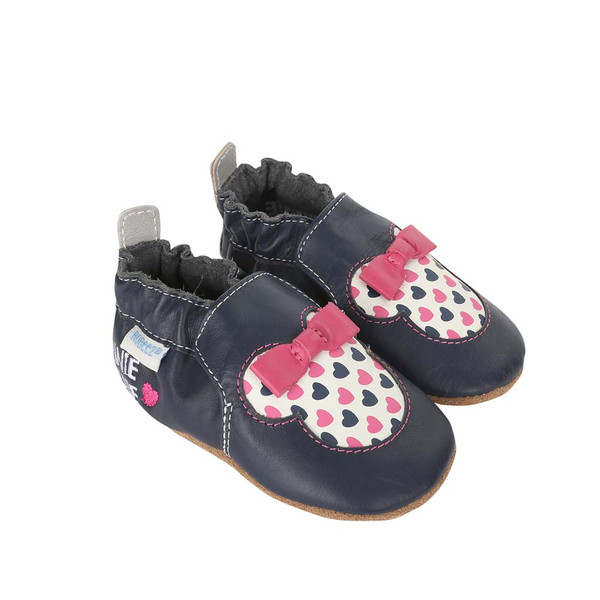 Side view of Disney Minnie Girl Baby Shoes, a crib shoe in navy leather featuring Disney's Minnie Mouse.