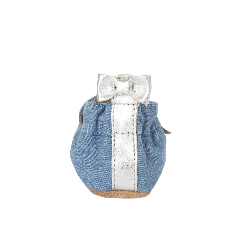 Back view of Peace Out Baby Shoes, a girls crib shoe in blue denim with silver leather peace sign.