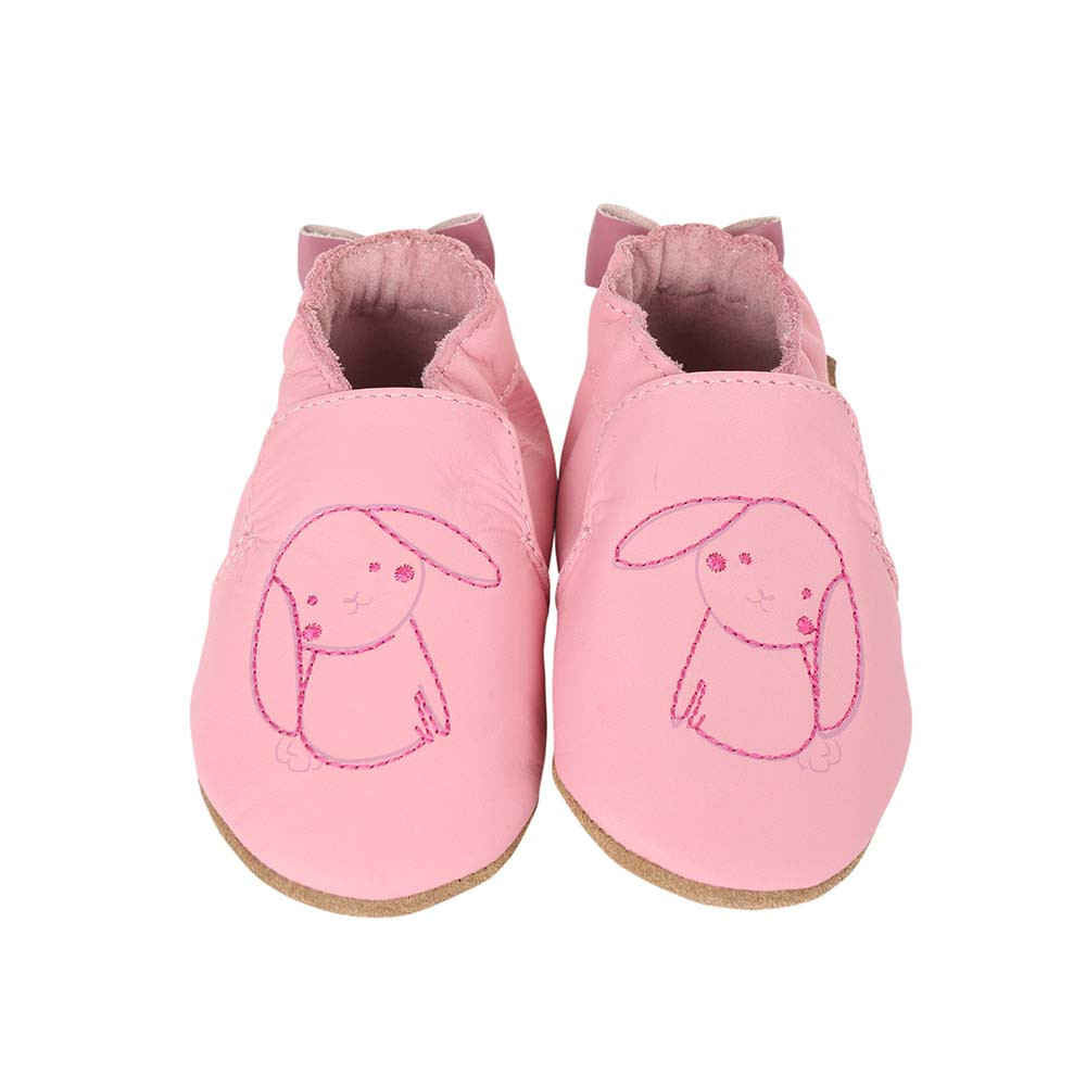 Front view of Sweet Bunny Baby Shoes, a soft soled girls crib shoe in pink leather with an embroidered bunny.
