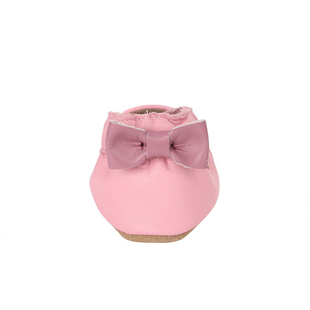 Back view of Sweet Bunny Baby Shoes, a soft soled girls crib shoe in pink leather with an embroidered bunny.
