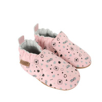 Side view of #GirlyGirl Baby Shoes: Soft soled baby shoes for girls in pink leather.