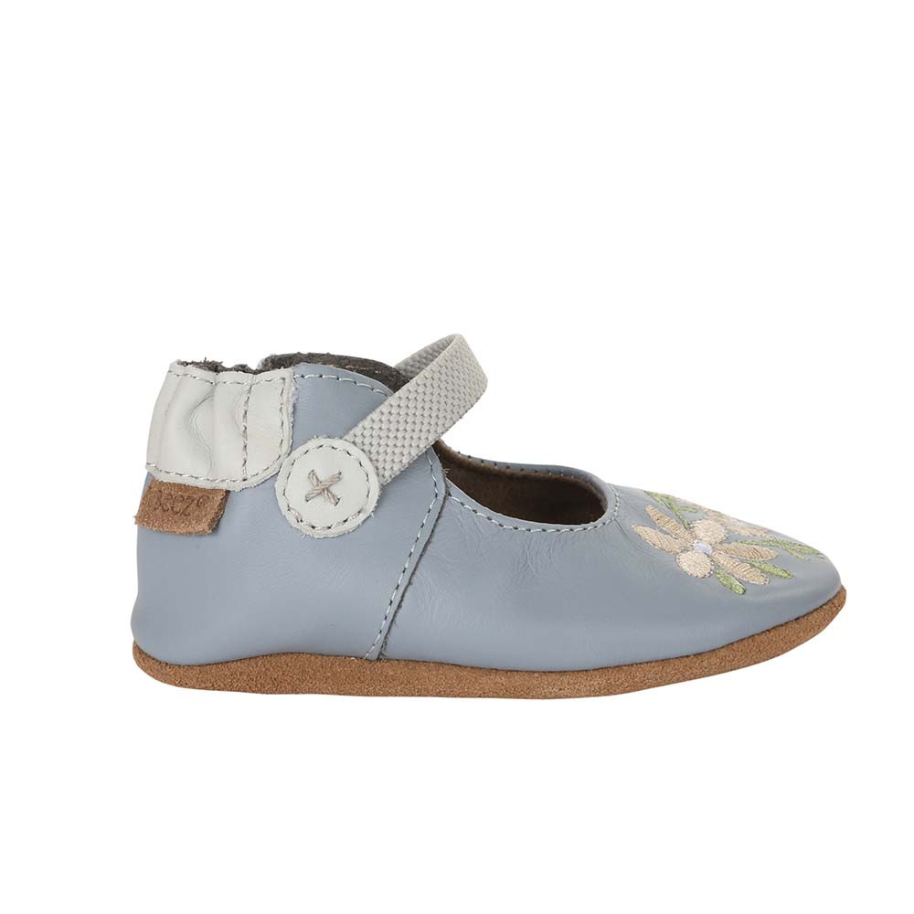 Single side view of Pretty in Blue Baby Shoes: Soft soled crib shoes in blue leather with white embroider