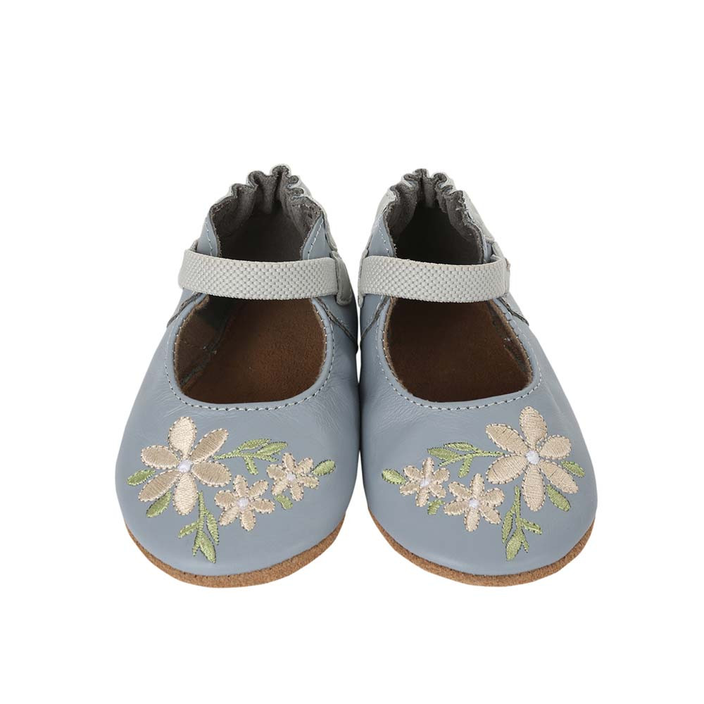 Front view of Pretty in Blue Baby Shoes: Soft soled crib shoes in blue leather with white embroider