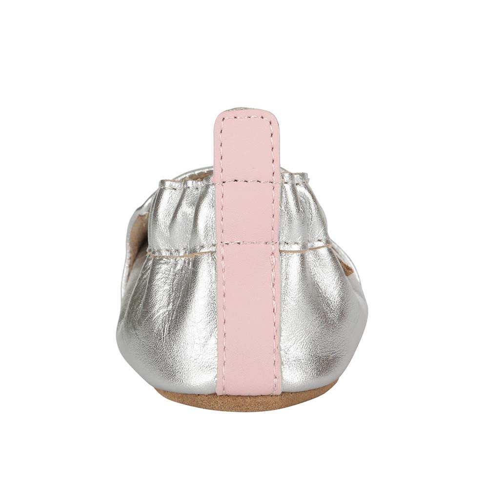 Back view of silver soft soled crib shoes for girls ages 0 -2 years old.  Feature embroidered flowers.