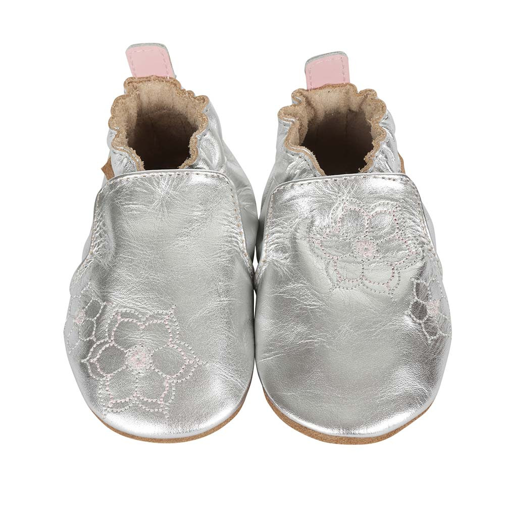 Front view of silver soft soled crib shoes for girls ages 0 -2 years old.  Feature embroidered flowers.