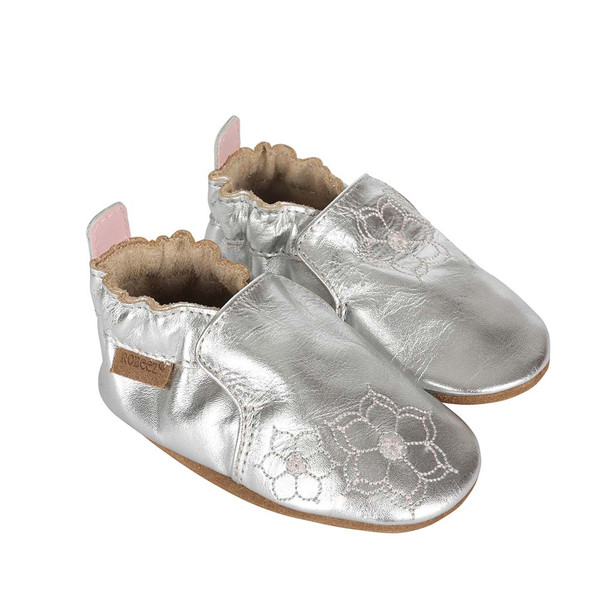 Side view of silver soft soled crib shoes for girls ages 0 -2 years old.  Feature embroidered flowers.