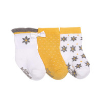 Girls socks for babies, infants and toddlers.  3 pair of cotton socks in white, yellow and grey with floral design.