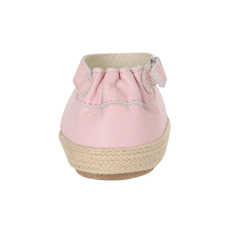 Back view of Kelly Espadrille Baby Shoe, a girl's crib shoe in pink leather with a soft sole.