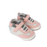 Side view of Katie's  Kicks Baby Shoes, a children's athletic shoe for baby, infant and toddler girls ages 3 - 24 months.  Soft soled with split rubber sole  that provides extra support for beginner walkers.