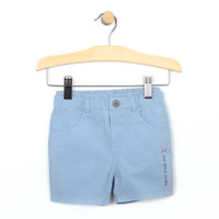 Blue cotton woven shorts for baby and toddler boys.  Front view.