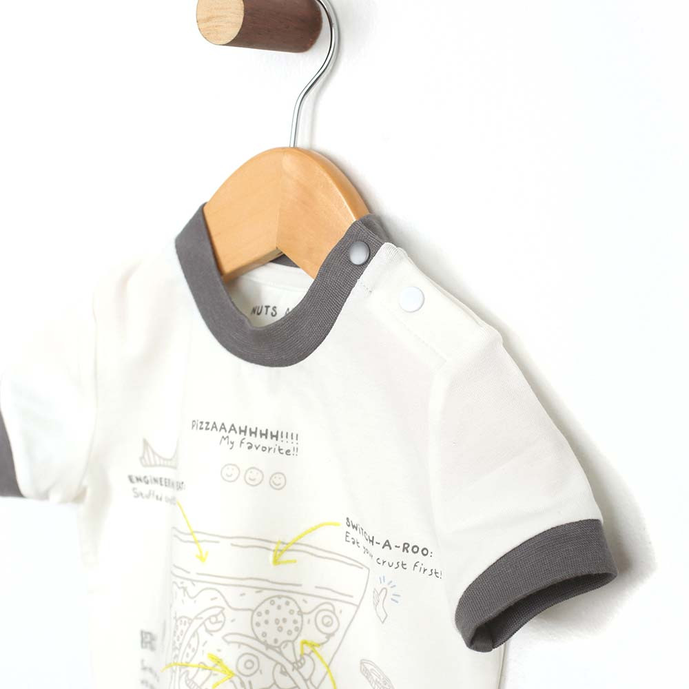 White cotton t-shirt for baby and toddler boys featuring a pizza graphic.  Side view.