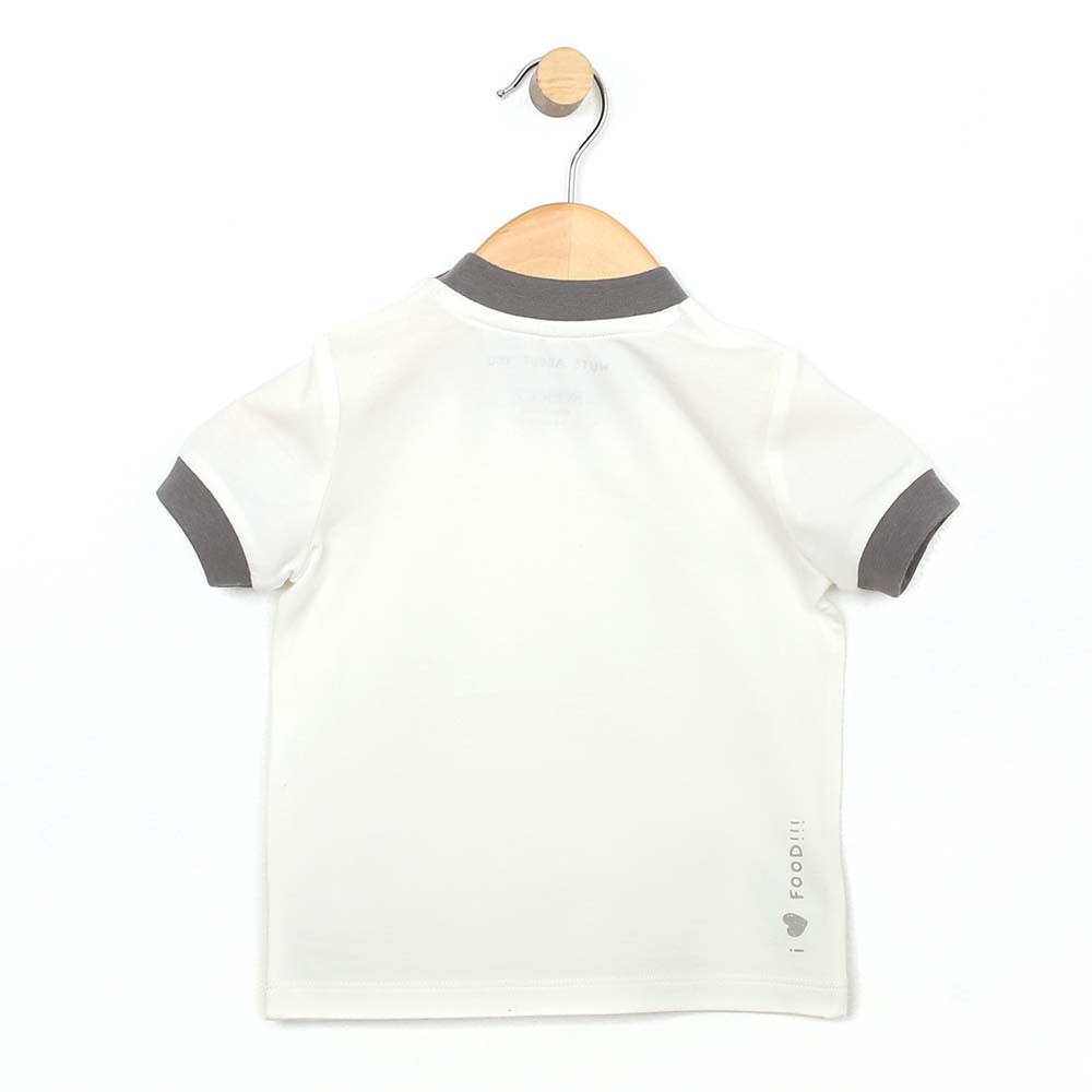 White cotton t-shirt for baby and toddler boys featuring a pizza graphic.  Back view.