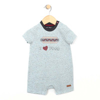 Blue heather cotton romper, with a hot dog applique, for baby and infant boys. Front view.