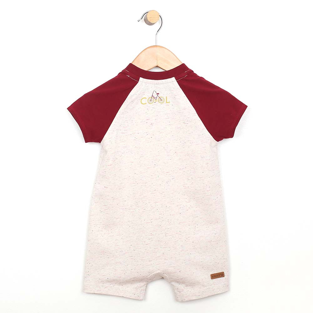 White cotton romper with red sleeves and collar for baby and toddler boys.  Back View.