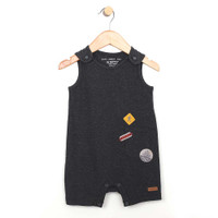Grey cotton romper for baby and toddler boys.  Sleeveless.  Front view.
