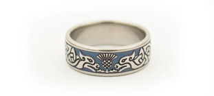 CJ205 - Titanium Wedding Band with Celtic Hounds and Thistle