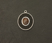 Sterling Silver pendant with Bog Oak and Garnet (CJ131)