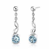2.00 Ct.T.W. Genuine Round Swiss Blue Topaz in Sterling Silver Earrings Style SE6744