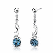 2.00 Ct.T.W. Genuine Round London Blue Topaz in Sterling Silver Earrings Style SE6746