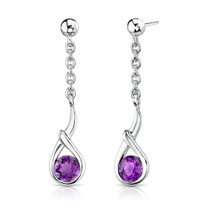 1.00 Ct.T.W. Genuine Round Amethyst in Sterling Silver Earrings Style SE6748