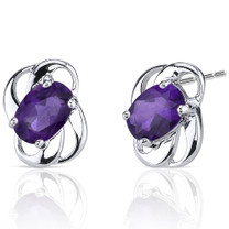 1.50 Ct.T.W. Genuine Oval Shape Amethyst in Sterling Silver Earrings Style SE6788