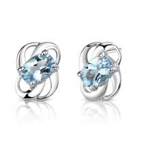 2.00 Ct.T.W. Genuine Oval Shape Swiss Blue Topaz in Sterling Silver Earrings Style SE6794