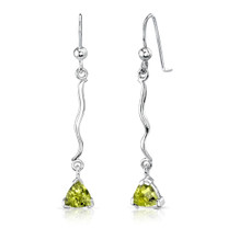 1.50 Ct.T.W. Genuine Trillion Cut Peridot in Sterling Silver Earrings Style SE6932