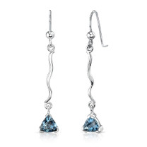 1.50 Ct.T.W. Genuine Trillion Cut London Blue Topaz in Sterling Silver Earrings Style SE6936
