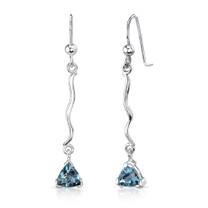 1.50 Ct.T.W. Genuine Trillion Cut London Blue Topaz in Sterling Silver Earrings Style SE6936