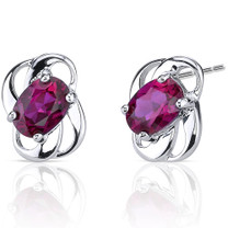 Classy 2.00 carats Ruby earrings in Sterling Silver Style SE6976