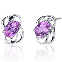 Classy 2.00 carats Pink Sapphire earrings in Sterling Silver Style SE6978