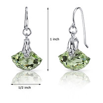 Spectacular Shell Cut 9.00 carats Green Amethyst Fishhook Earrings Sterling Silver Style SE6982