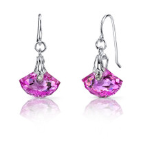 Spectacular Shell Cut 13.00 carats Pink Sapphire Fishhook Earrings Sterling Silver Style SE6986