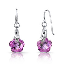 Blooming Flower Cut 10.00 carats Pink Sapphire Fishhook Earrings Sterling Silver Style SE6990