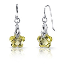 Blooming Flower Cut 6.50 carats Lemon Quartz Fishhook Earrings Sterling Silver Style SE6994