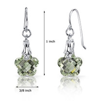 Blooming Flower Cut 7.00 carats Green Amethyst Fishhook Earrings Sterling Silver Style SE6996